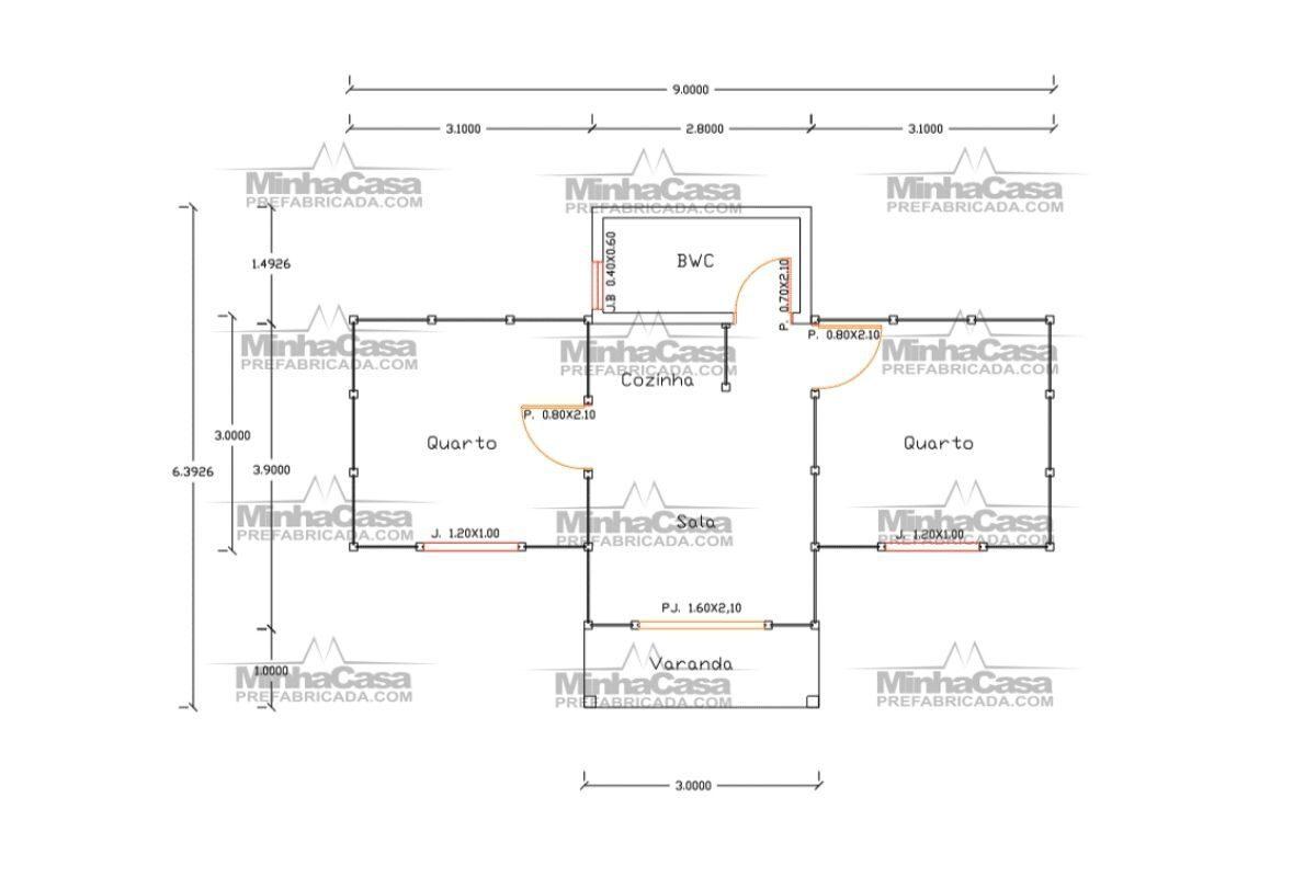4 planta de casa Modelo Barra Velha de 36,00M²
