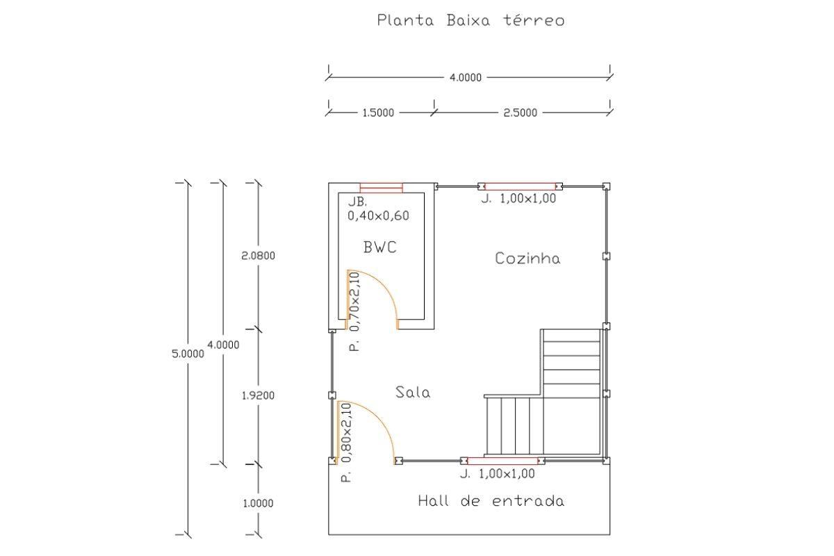 5 planta de casa Modelo Pousada II de 21,00M² 1