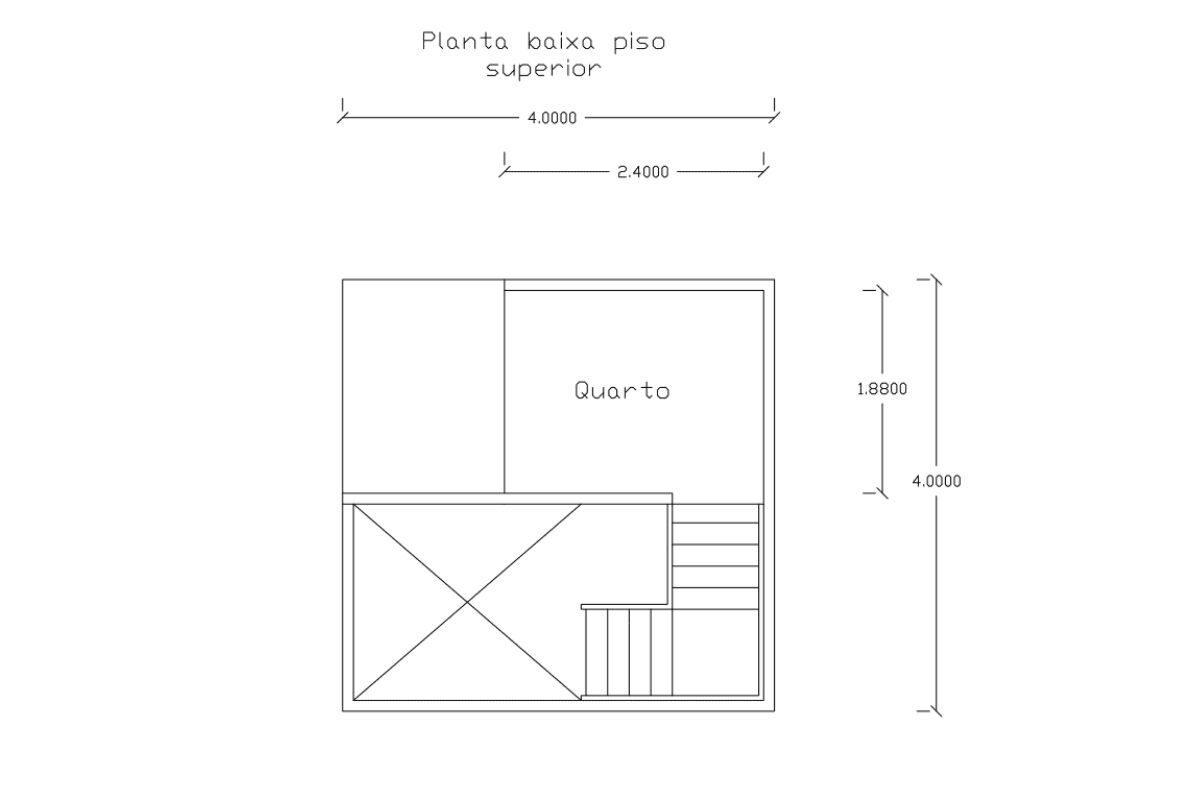 5 planta de casa Modelo Pousada II de 21,00M² 2