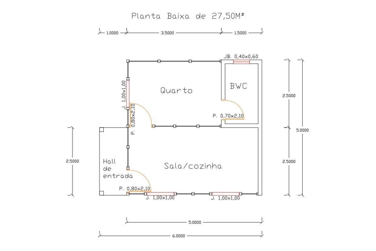 6 planta de casa Modelo Ilhota 27,50M²