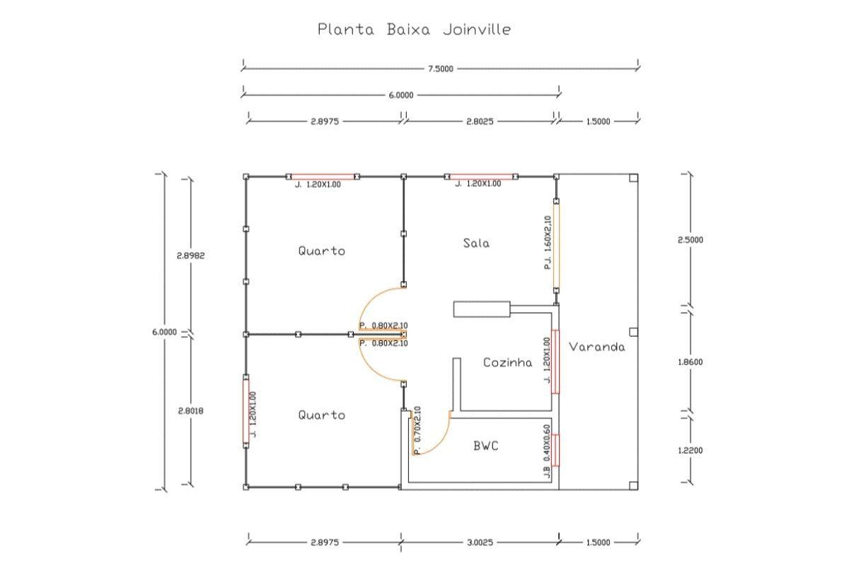 6 planta de casa Modelo Joinville de 45,00M²