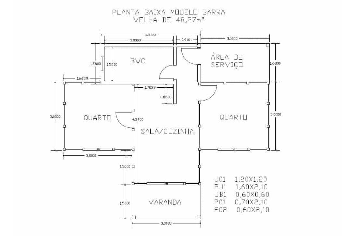 7 planta de casa Modelo Barra Velha II 48,27M²