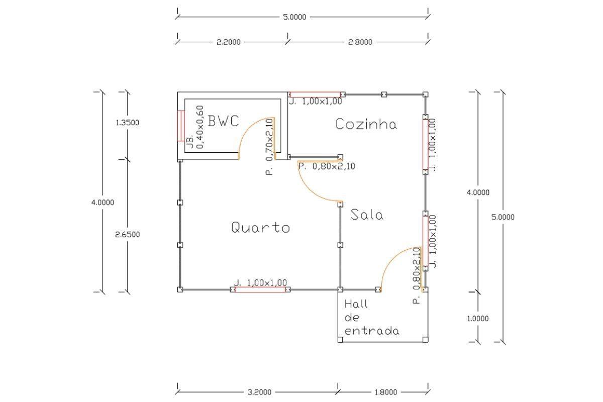 7 planta de casa Modelo Penha de 22,00M²