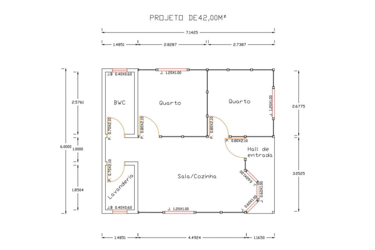 8 planta de casa Modelo Blumenau de 42,00M²