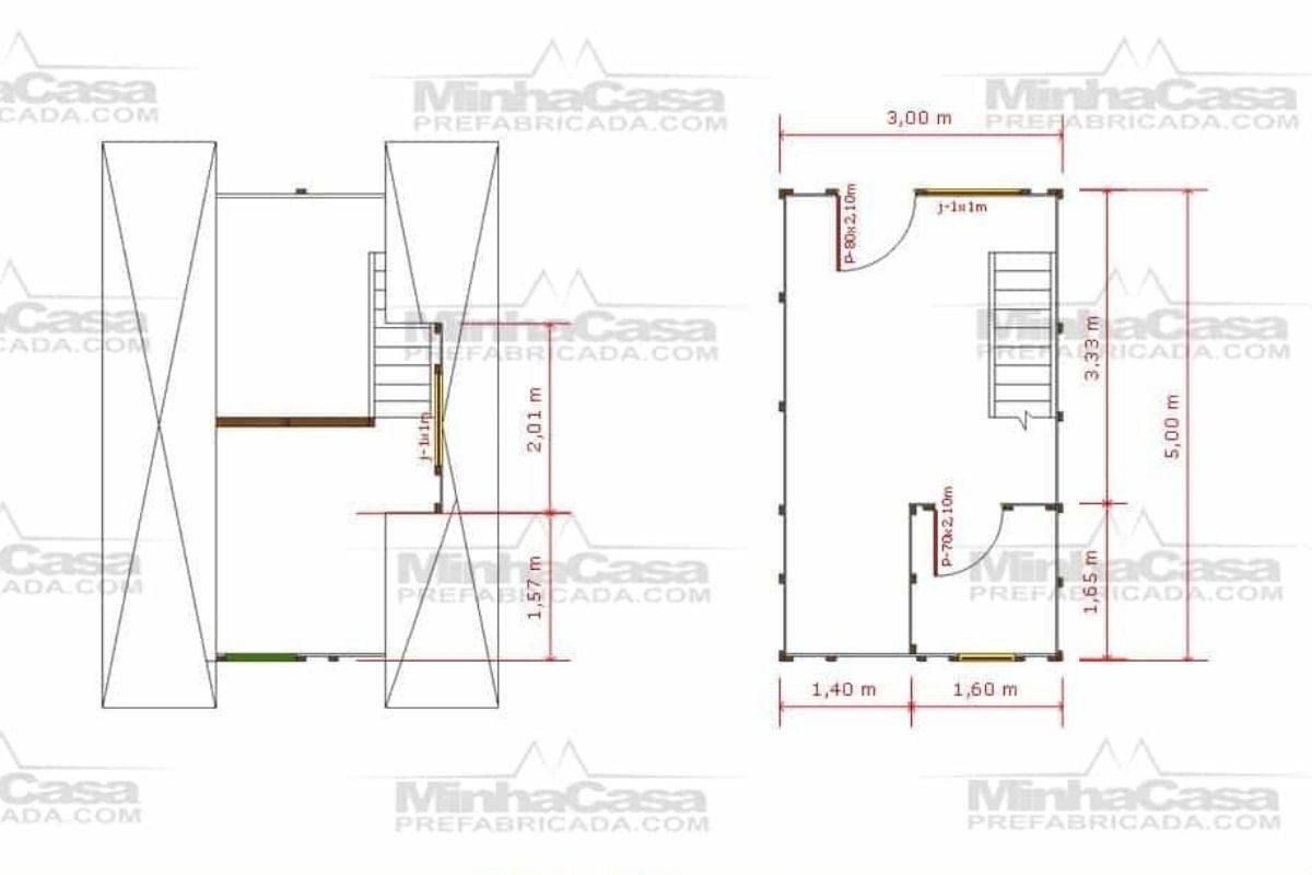 8 planta de casa Modelo Pousada Pop 1.1 de 21,00M²
