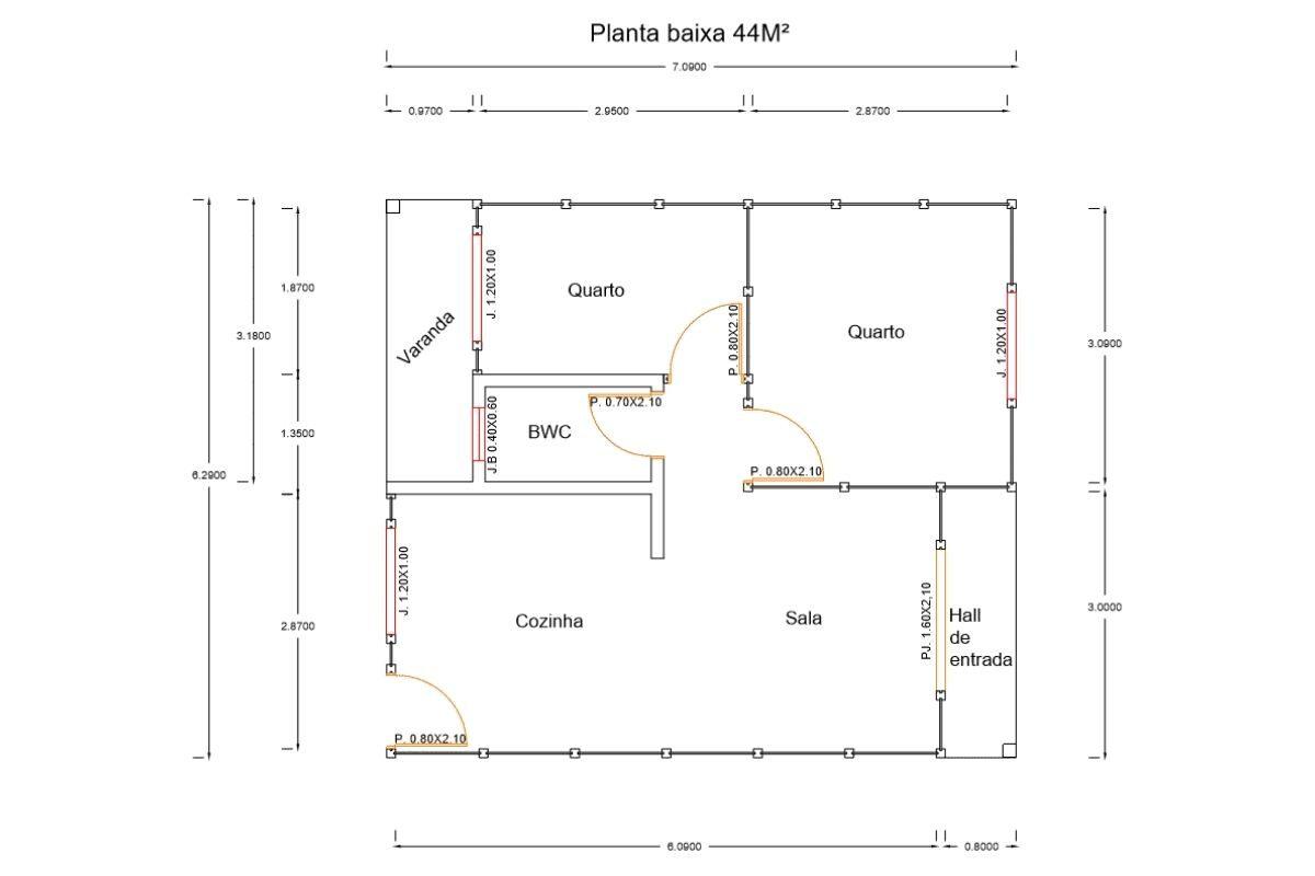 9 planta de casa Modelo Palhoça de 44,28M²
