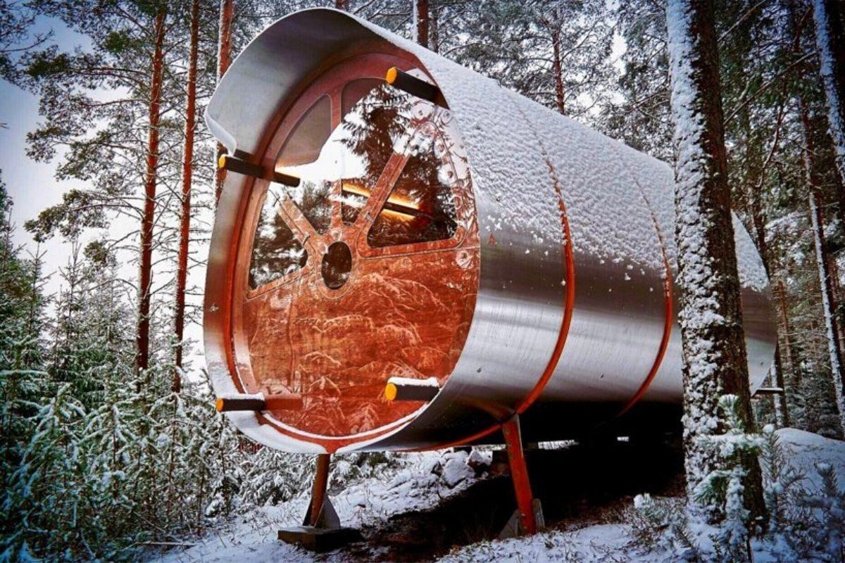 cabana de madeira e alumínio fuselagem avião foto 3