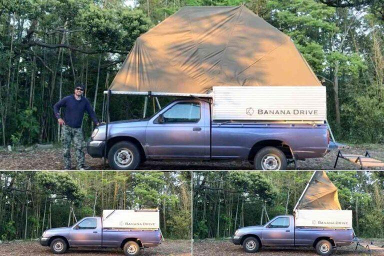 Camper de madeira expande para tornar qualquer picape em motorhome
