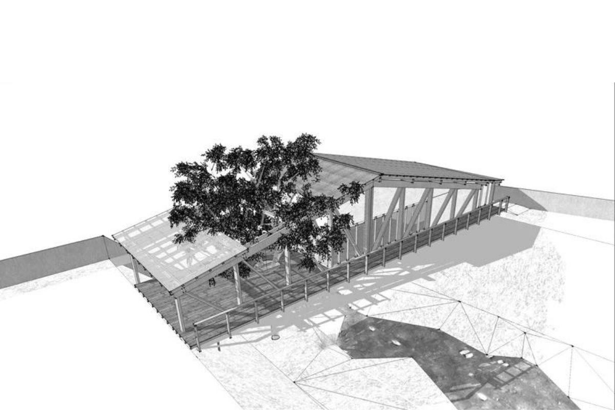 casa de madeira sobre ponte foto 4