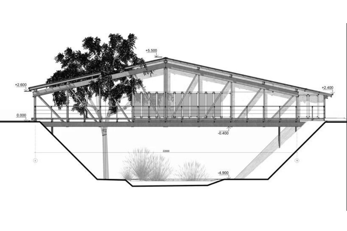 casa de madeira sobre ponte foto 5