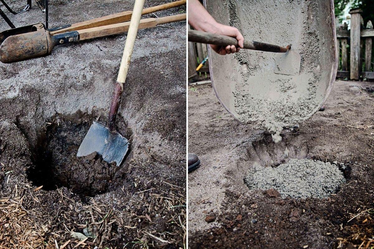 cavando o buraco dos postes