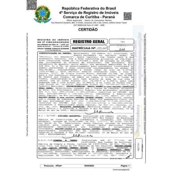 documento de matrícula do imóvel