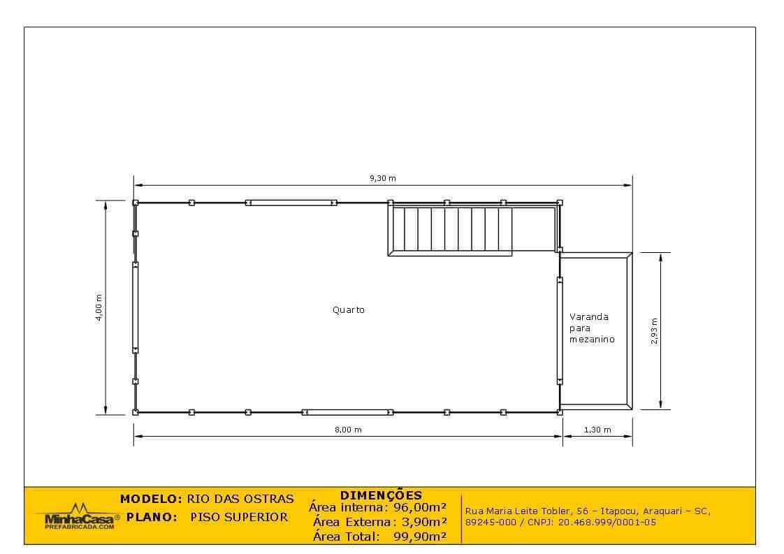 Casa de madeira Modelo rio das ostras 99,90M² 10