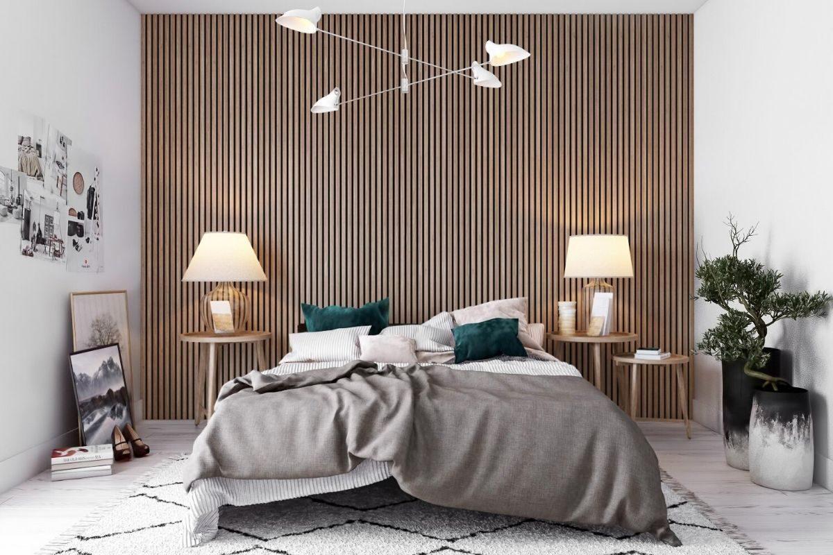 Dormitórios com paredes de madeira