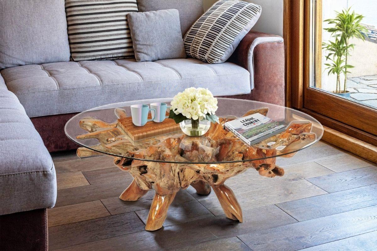 Mesas de madeira rústica com vidro 1
