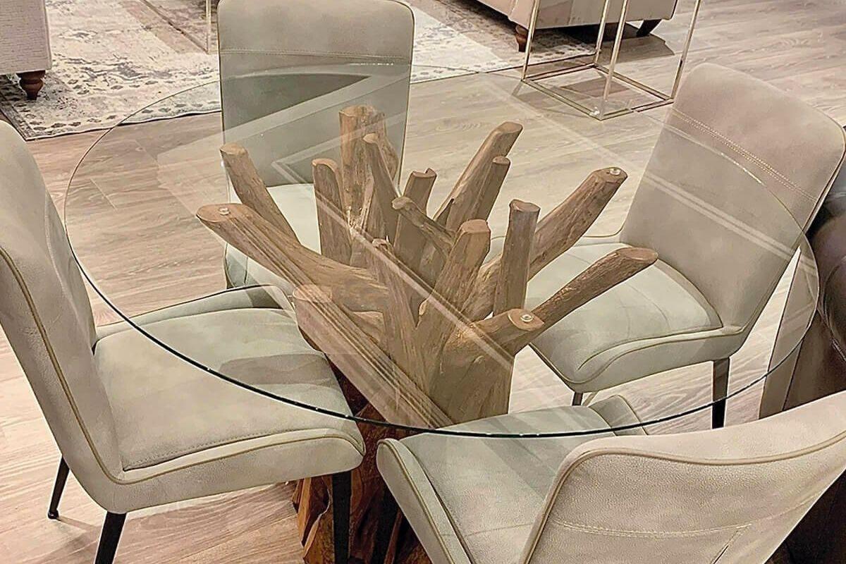 Mesas de madeira rústica com vidro 3