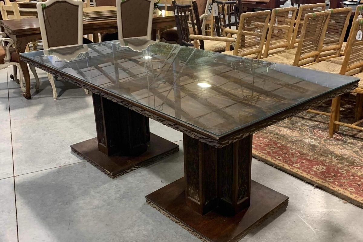 Mesas de madeira rústica com vidro 4