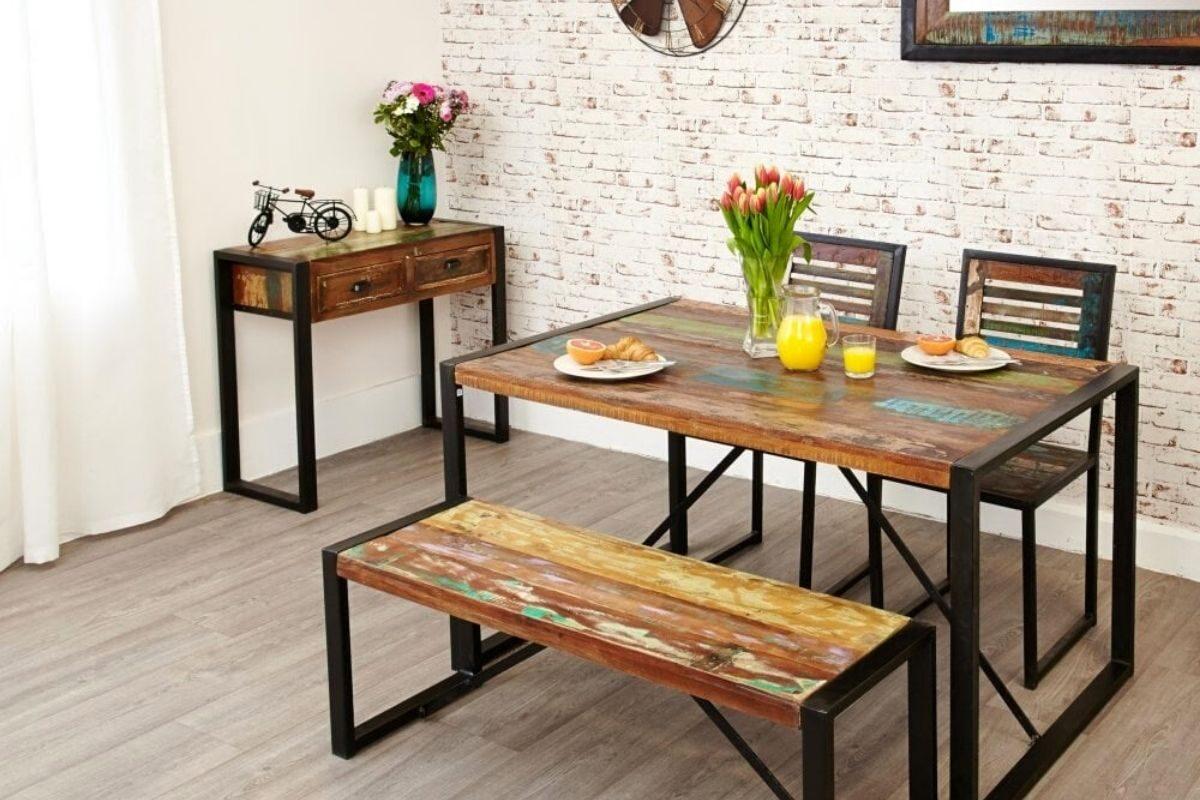 Mesas de madeira rústica compactas 1