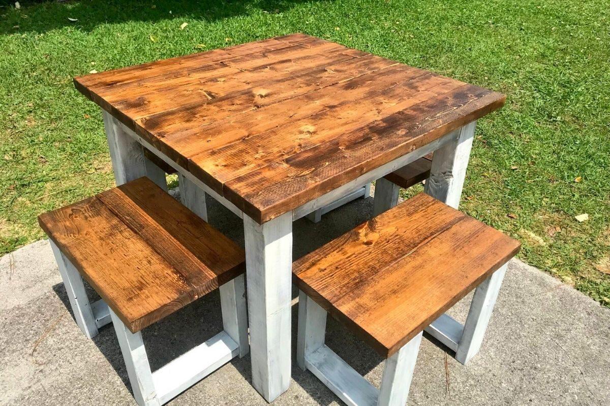 Mesas de madeira rústica compactas 3
