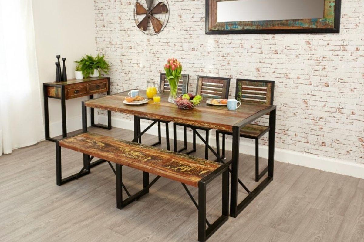 Mesas de madeira rústica longas e retangulares 4