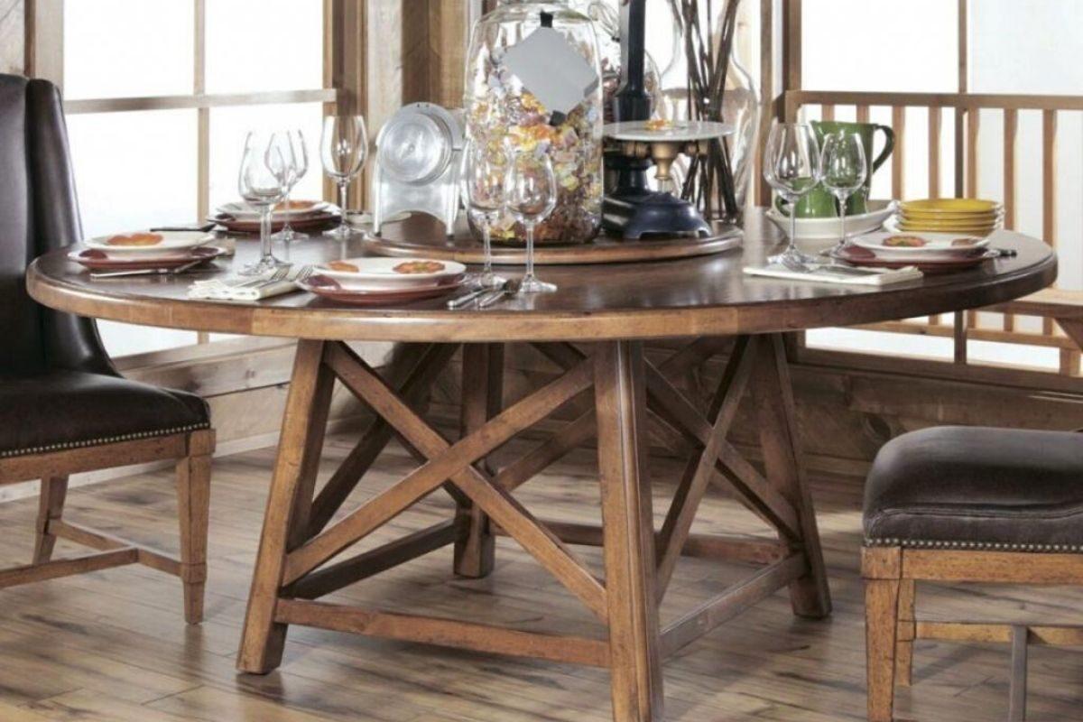 Mesas de madeira rústicas redondas 2