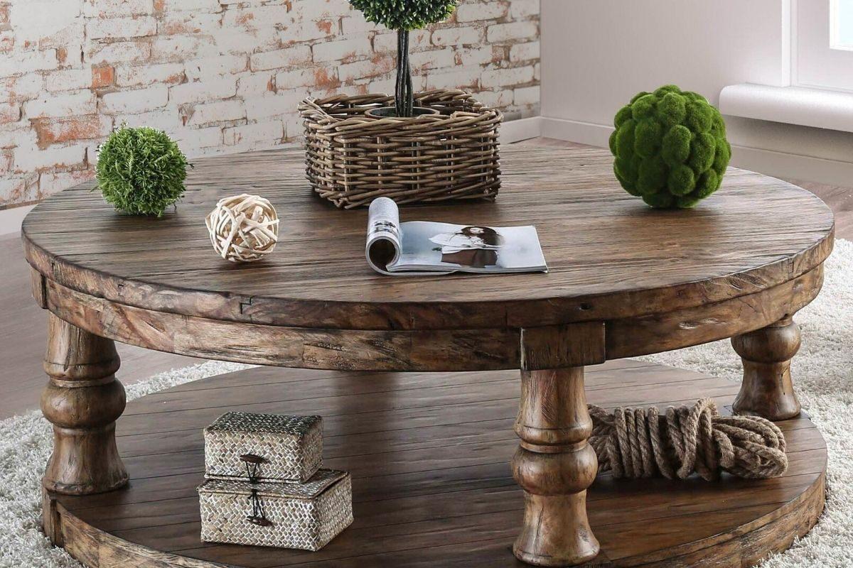 Mesas de madeira rústicas redondas 4