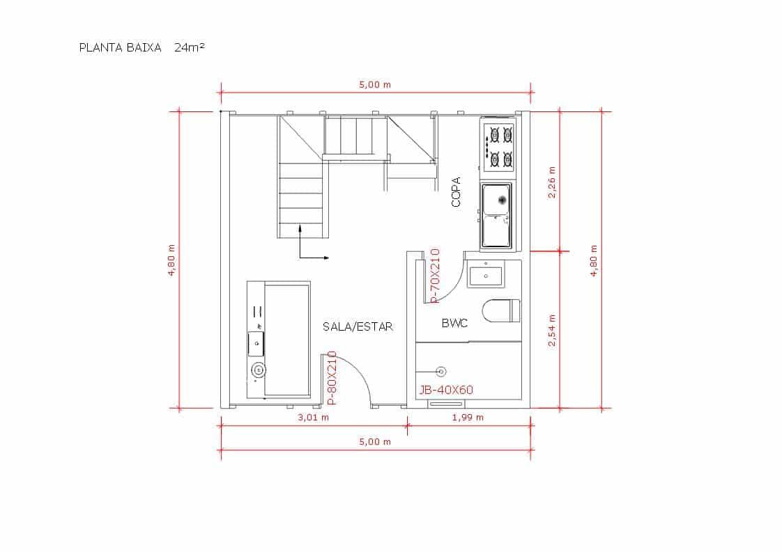 Modelo Pousada Pop 1.3 de 32,19M² planta 1
