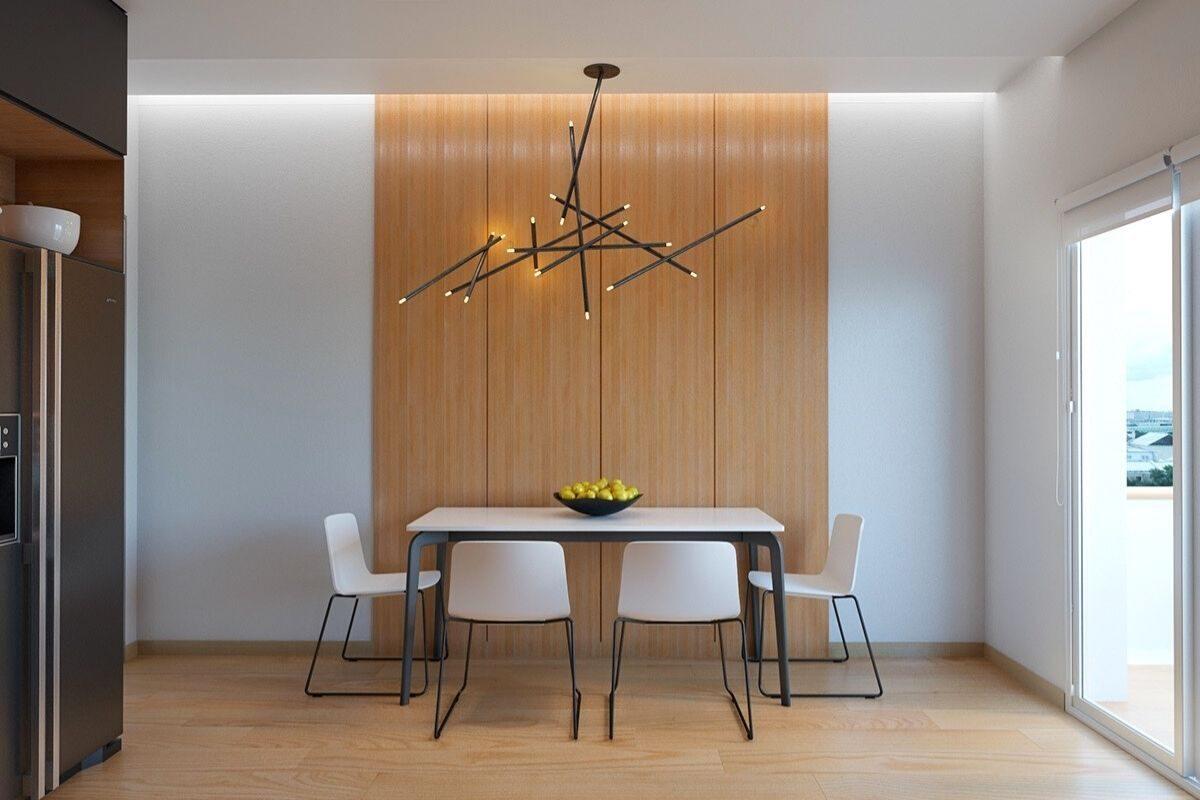 Sala de jantarcom parede de madeira
