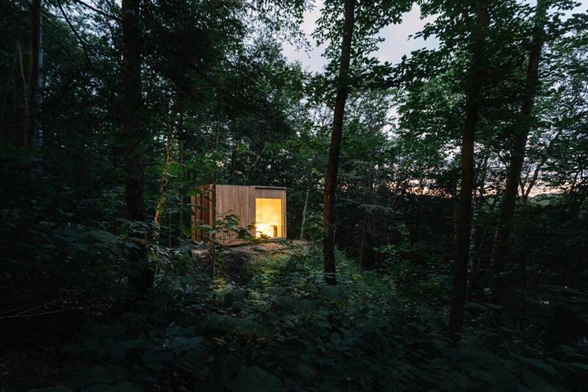 cabana de madeira hotel plantio de árvores foto 4