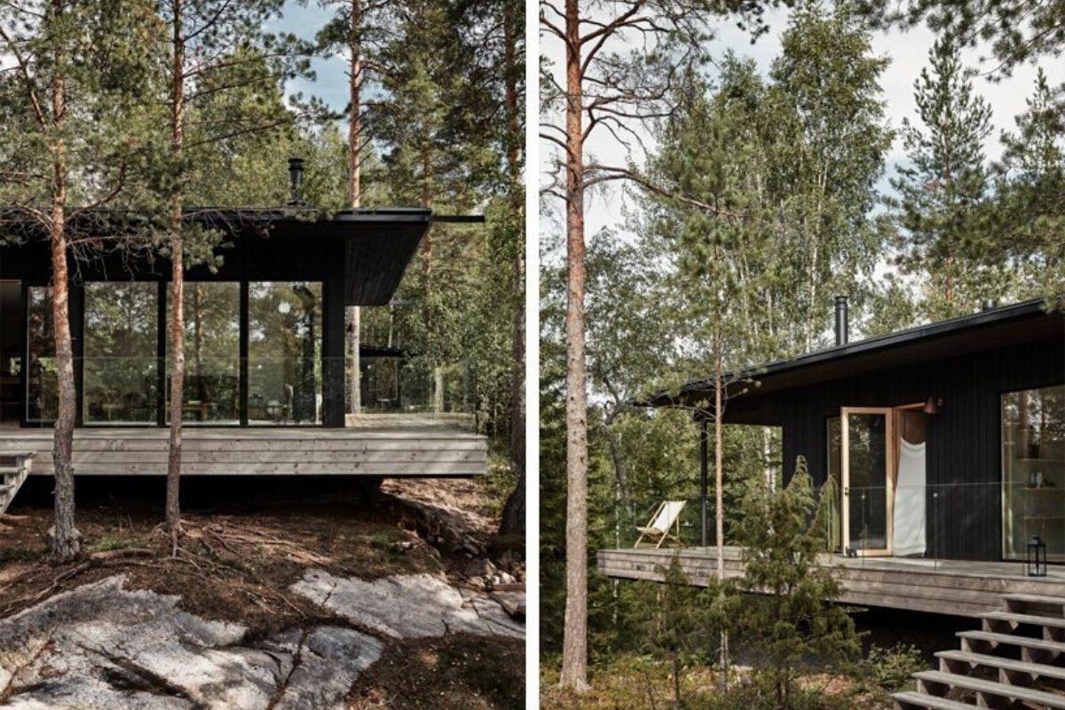 casa de madeira cercada de janelas foto 2