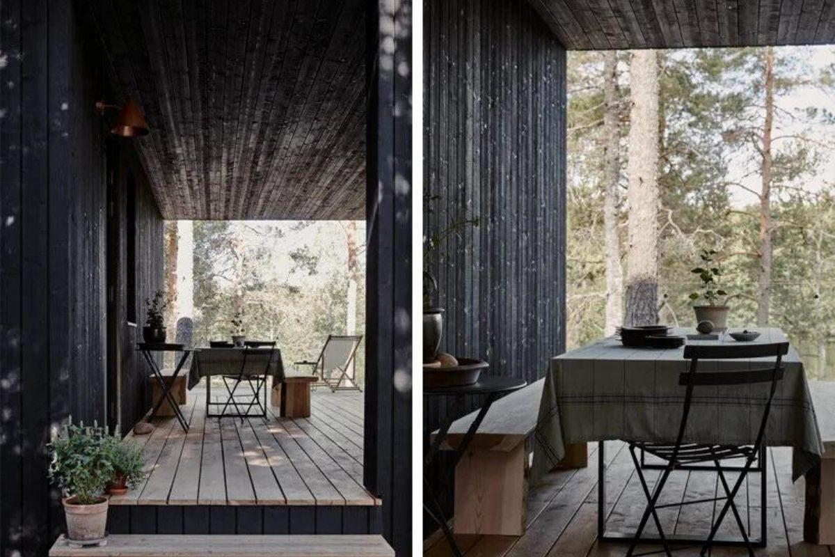 casa de madeira cercada de janelas foto 3