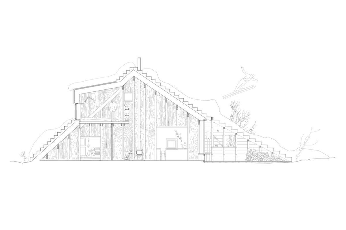 casa de madeira com telhado multifuncional foto 8