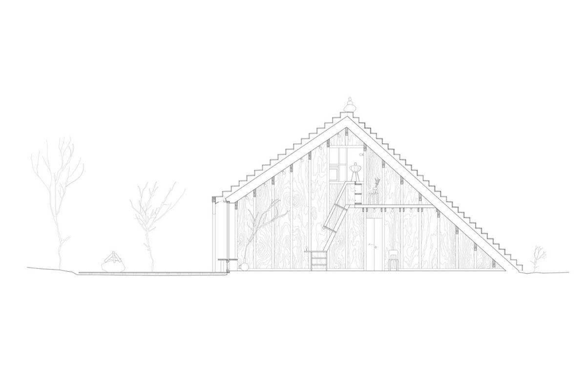 casa de madeira com telhado multifuncional foto 9