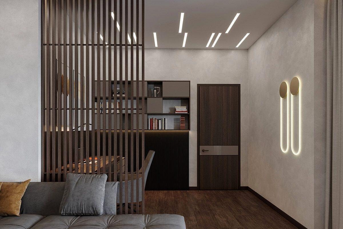 Divisória com painel ripado de madeira