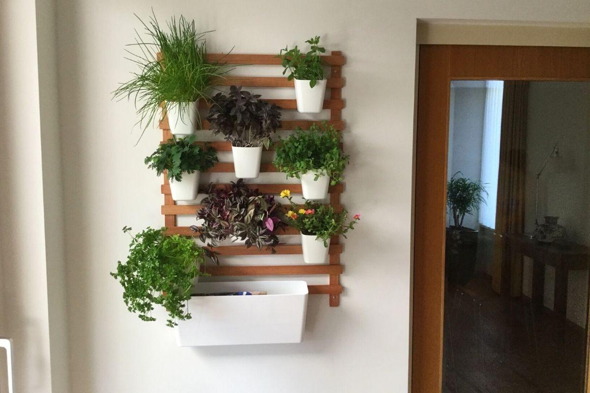 Suporte de madeira para as plantas no formato pendurado