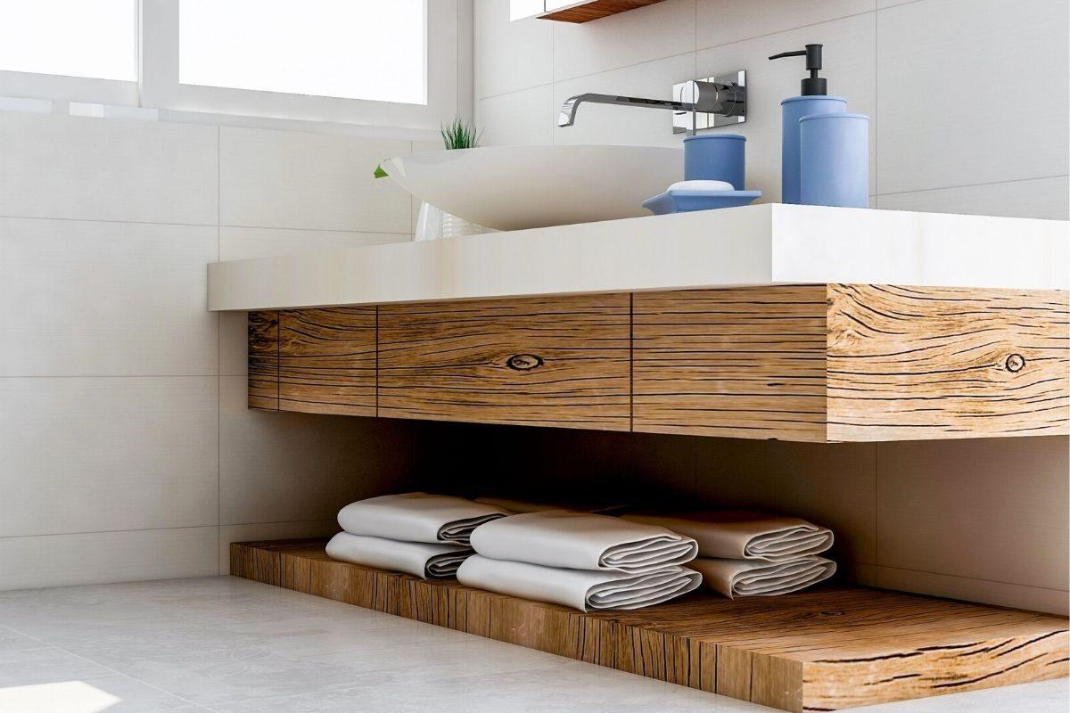 bancada de madeira Cozinha e banheiro