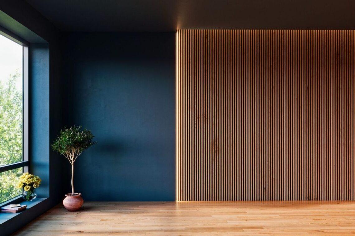 painel ripado de madeira
