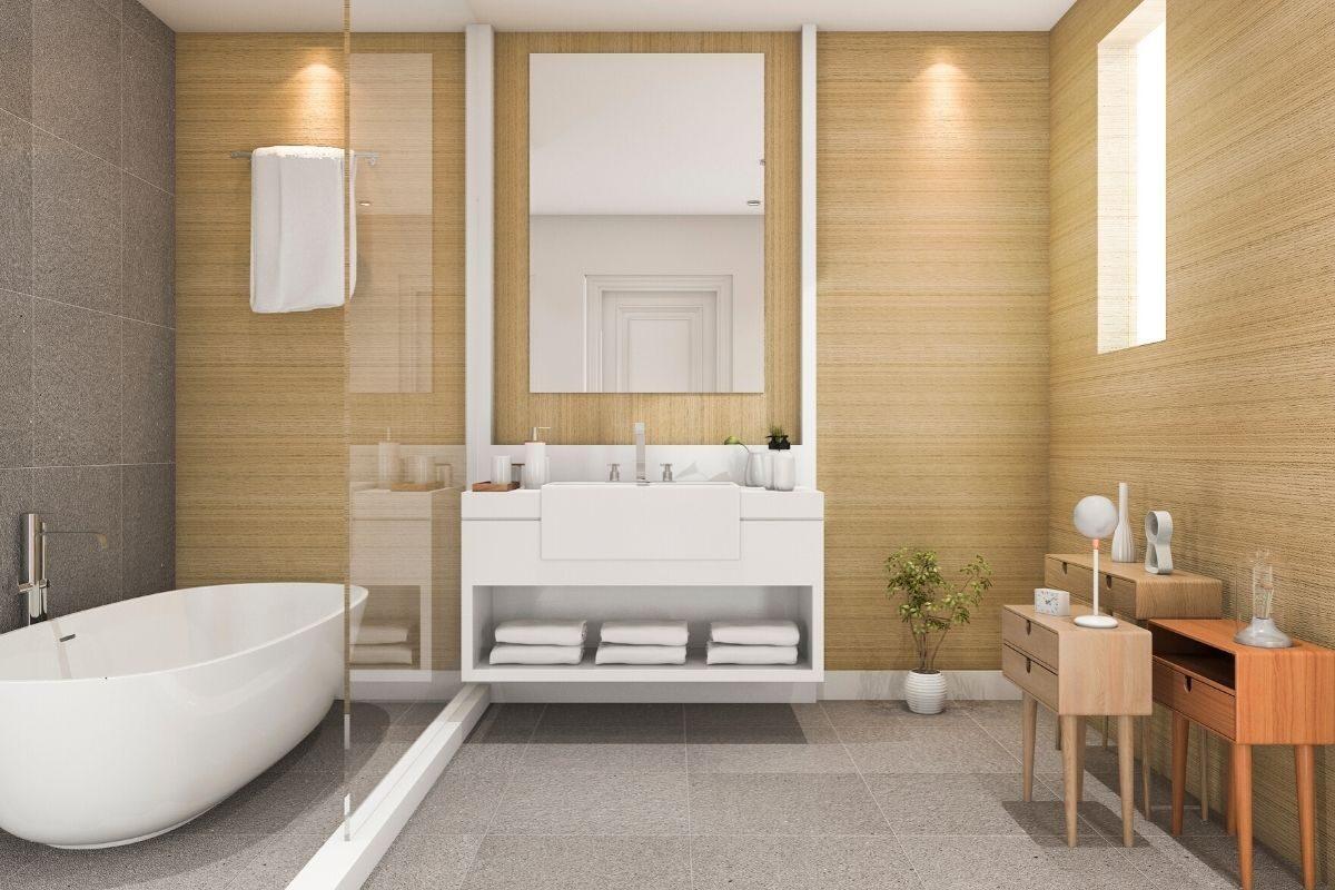 Banheiro de madeira clara