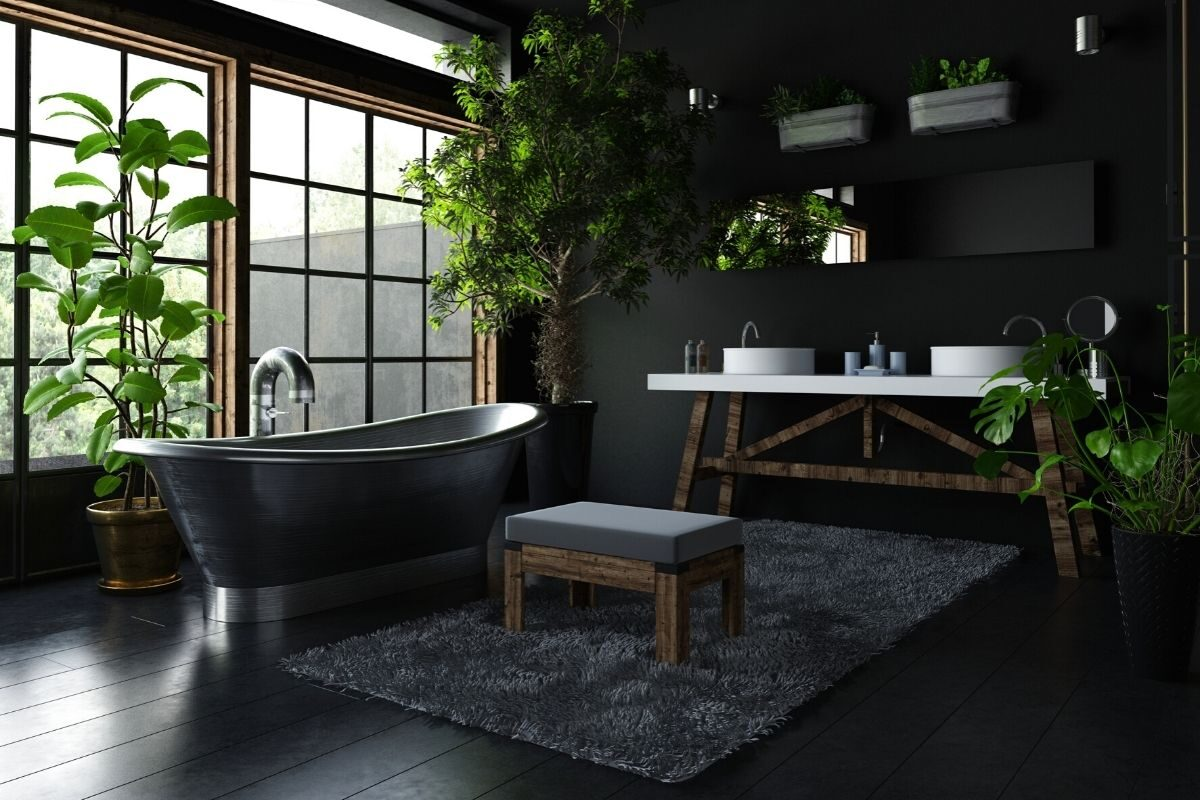 Banheiro de madeira com preto