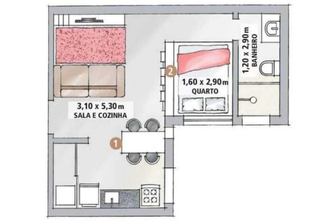 Casa em L com 1 quarto