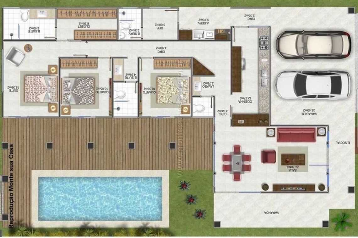 Casa em L com 3 quartos