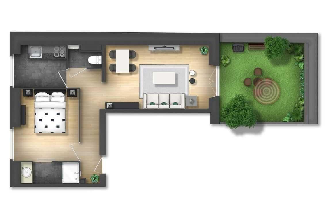Casa em L com menor espaço interno