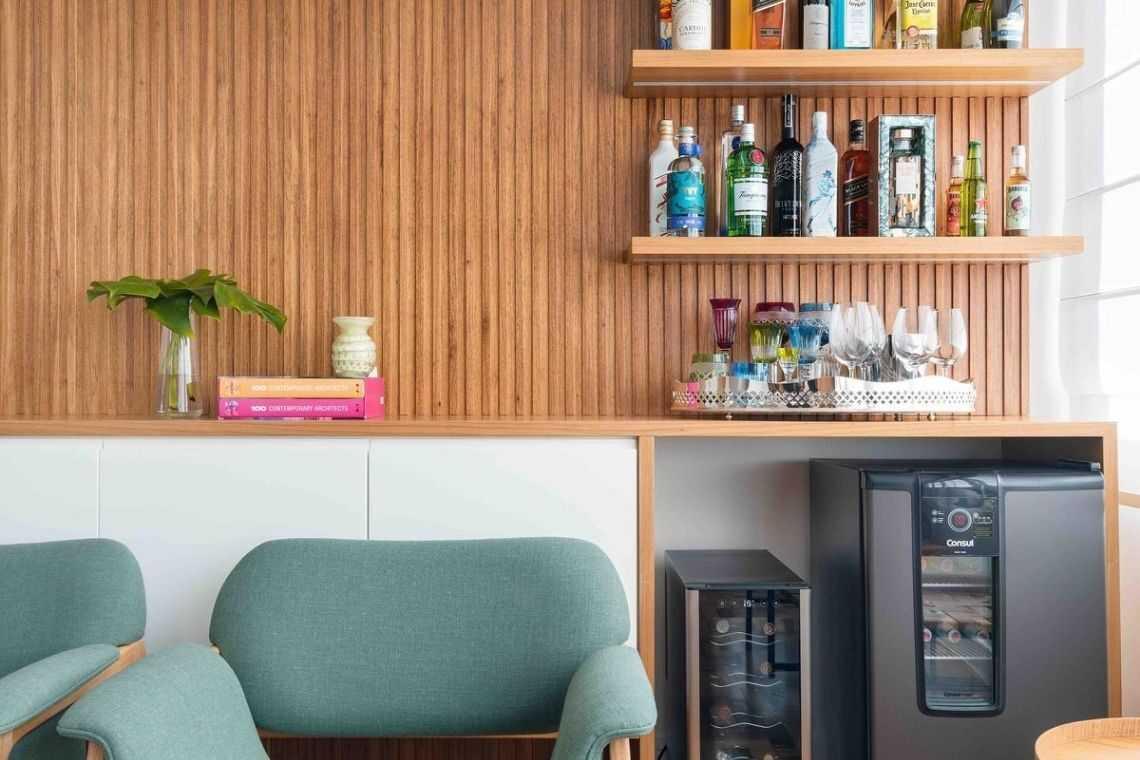 Ou até para integrar a sala com um minibar