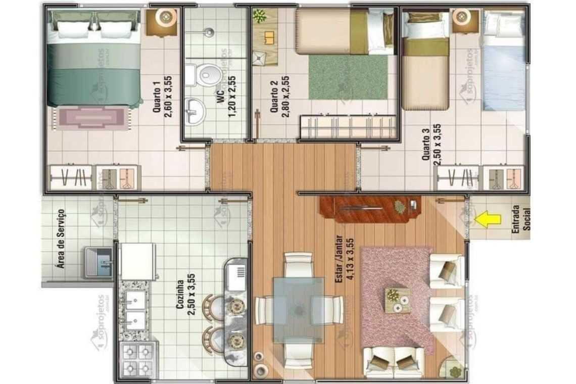 Planta baixa de casas com 3 quartos