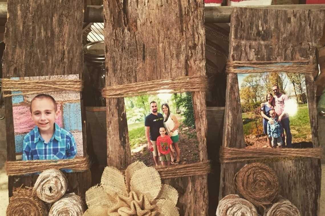 Porta-retratos de madeira rústico
