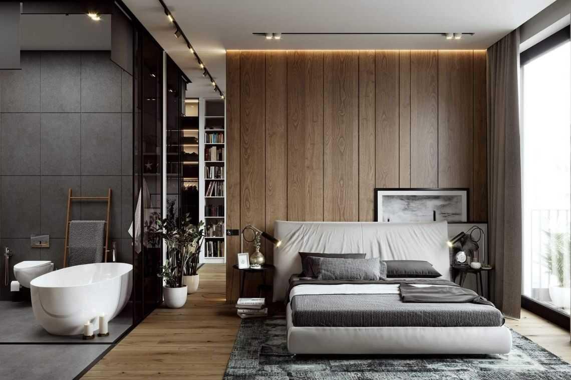 Quarto com banheira sofisticado e com elementos de madeira tons de cinza