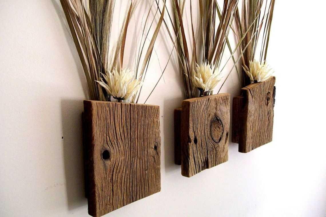 Vaso de madeira para parede