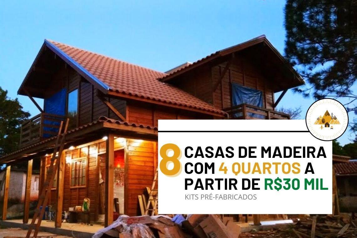 8 casas de madeira com 4 quartos